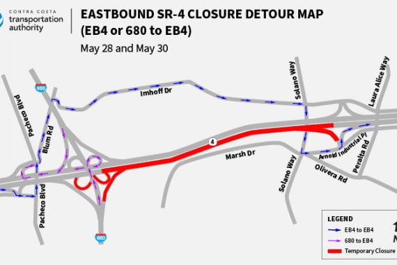 Eastbound SR 4 Closure Detour Map EB4 or 680 to EB4 Traffic Advisory 05 28 2020