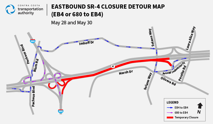 Traffic Advisory: Full Nighttime Closures of State Route 4/Interstate 680 Connector Ramps Thursday, May 28 through Sunday, May 31, 2020